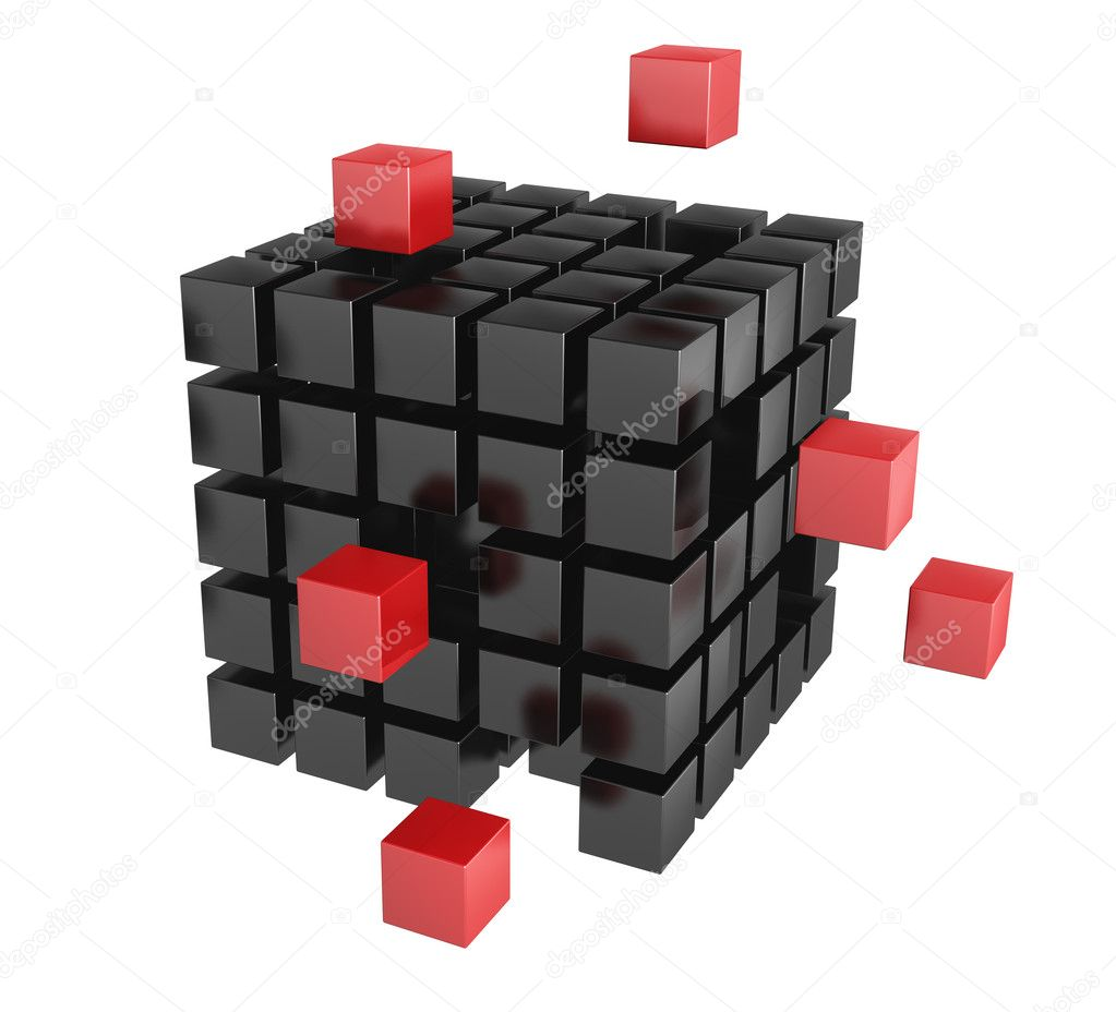 3d blocks red and black color. It is isolated on a white background — Zdjęcie stockowe #5198709