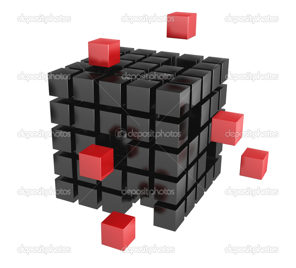 3d blocks red and black color. It is isolated on a white background — Foto Stock #5198709