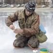 Fisherman. ice fishing competition — Stock Photo