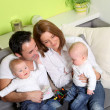Smiling family with twins — Stock Photo #4589570