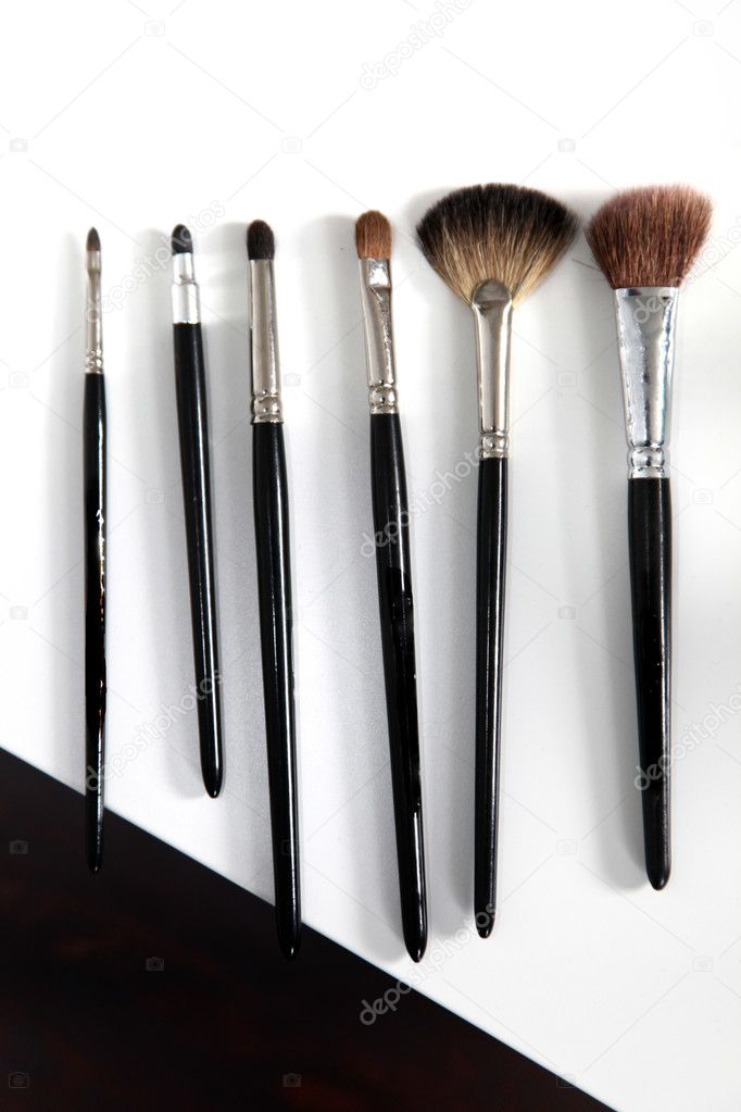 Different make - up brush in a row from the top — Stock Photo #5190058