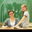 Young friendly teacher and student in the classroom - square — Stock Photo