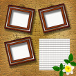Wooden frames with flowers — Stock Photo