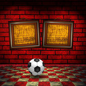 Soccer background with wooden frames — Stock Photo