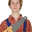 Carpenter with handsaw — Stock Photo #4152311