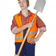 Young worker with spade — Stock Photo