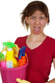 Screaming cleaning woman — Stock Photo