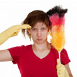Woman with duster — Stock Photo #5077338