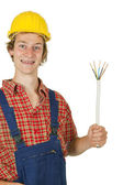Electrician with power cable — Stock Photo