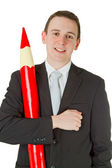 Businessman with red pencil — 图库照片
