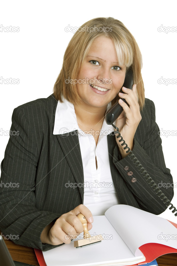 Businesswoman on phone - isolated on white background — Stock Photo #5292414