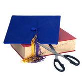 Education Cuts - Scissors Cutting Grad Hat — Stock Photo