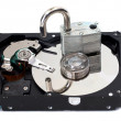 Stock Photo: Unlocked Padlock on Hard Disk Drive