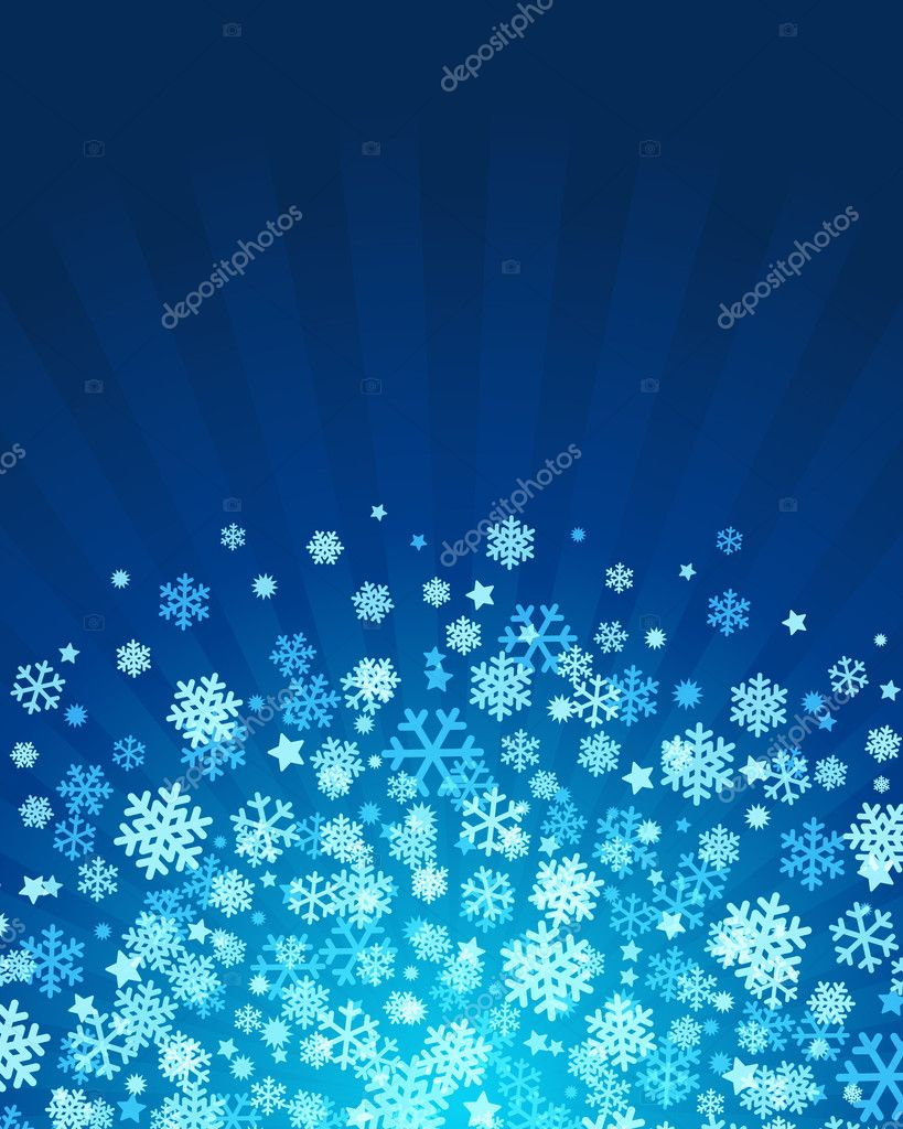 Blue abstract christmas background with snowflakes  — Stock Vector #4501150