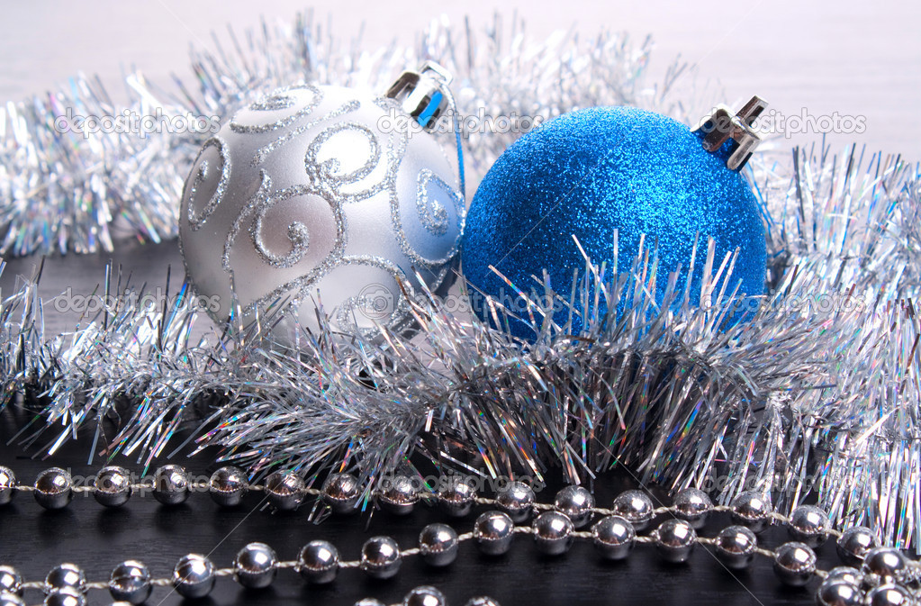 Christmas-tree decorations on a black background  Stock Photo #4389246