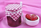 Home made jam and some organic fresh fruit — Stock Photo