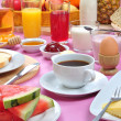 Stock Photo: Full breakfast with organic juice and jam