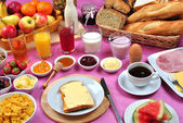 Full breakfast with organic juice and jam — Stock Photo