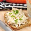 Home made coleslaw on bread with parsley — Stock Photo