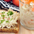 Fresh home made coleslaw on some bread — Stock Photo