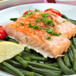 Grilled salmon with organic beans on a plate — Stock Photo #4403649