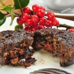 Home made christmas pudding on a plate — Stock Photo #4435904
