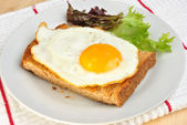 Organic fried egg on toast bread with salad — Stock Photo