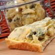 Some blue mold cheese on toast bread — Stock Photo