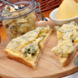 Stock Photo: Some blue mold cheese on toast bread
