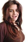 One nice young woman with open mouth — Stock Photo