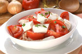 Tomato salad with feta cheese and parsley — Stock Photo