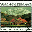 Postage . Gustave Courbert. Cottage in mountain — Stock Photo #4126375