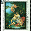 Postage stamp.  Francois Bousher. Jupiter and Callisto. - Stock Photo