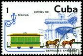 Vintage postage stamp. Streetcar. — Stock Photo