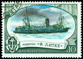 "Vintage postage stamp. Icebreaker "" F. Litke "" — Stock Photo"