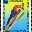 Vintage  postage stamp. Olympic games in Lake Placid. 3. — Stock Photo