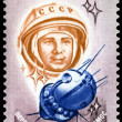 Vintage  postage stamp. 20 years of a space age. 6. - Stock Photo