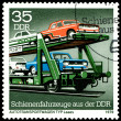 Royalty-Free Stock Photo: Vintage  postage stamp. Laaes automobile carrier.