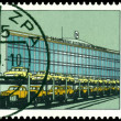 Vintage postage stamp. Building of the automobile factory in Zwi — Stock Photo