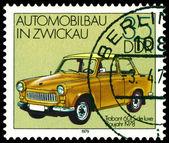 Vintage postage stamp. Old car Trabant 601S — Stock Photo