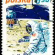 Vintage  postage stamp. Neil Armstrong and Apollo 11. - Stock Photo