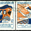 Vintage  postage stamp.  Three Responsibilities Women — Stockfoto