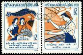 Ročník poštovní známka. tři odpovědnosti ženy — Stock fotografie