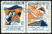 Vintage postage stamp. Three Responsibilities Women — Stok fotoğraf