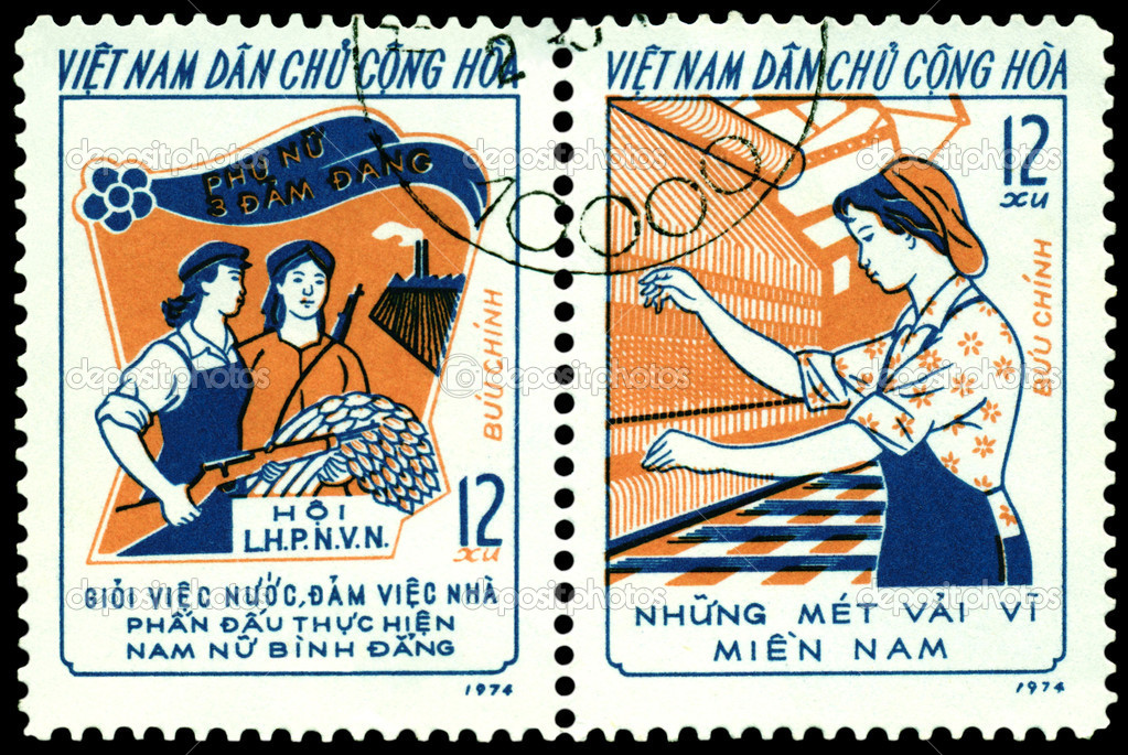 Vietnam - CIRCA 1974: A Stamp printed in the Vietnam shows  the women of the Vietnam - a warrior, tiller, weaver., circa 1974. — Stock Photo #5074856