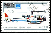 Vintage postage stamp. Helicopter Gazelle. — Stock Photo