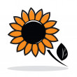 Orange abstract sunflower — Stock Vector