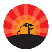 Giraffe and tree at sunset background — Stock Vector