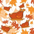Stock Vector: Autumnal seamless pattern with turkeys
