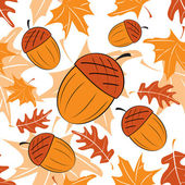 Seamless autumnal pattern with acorns — Stock Vector